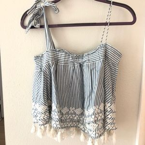 Free people blue and white stripe tank size small
